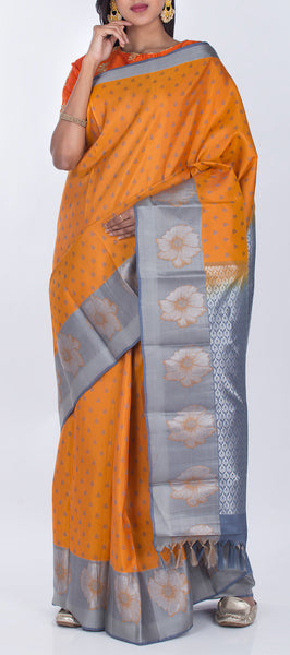 Burnt Orange & Grey Lightweight Kanchipuram Pure Silk Saree