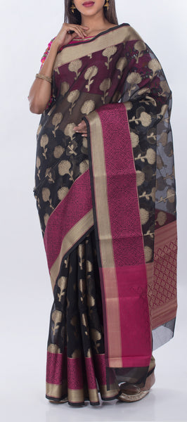 Black & Purple Semi Kora Saree