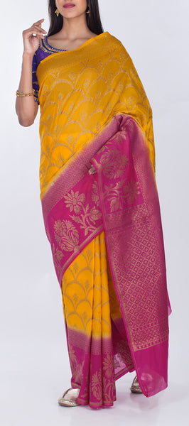 Mango Yellow & Pink Semi Benarasi Saree