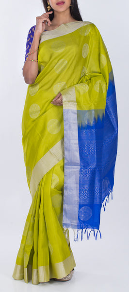 Lime Green & Dark Blue Pure Soft Silk Saree