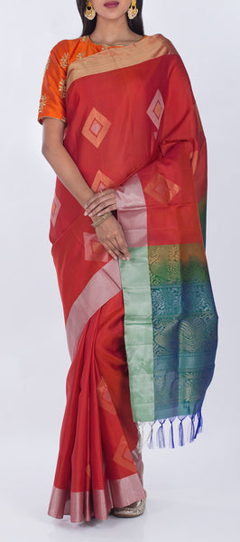 Dark Red & Cadet Blue Pure Soft Silk Saree