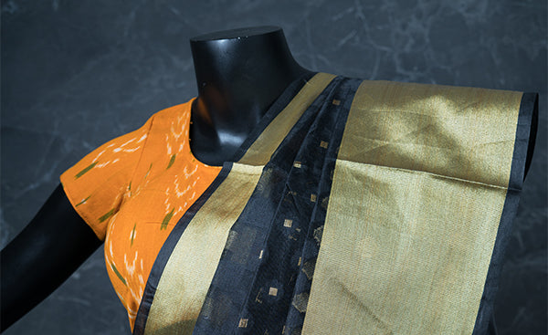 Mustard Cotton Readymade Blouse with Ikhat Prints