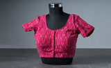 Pink Cotton Blouse with Ikhat Prints