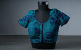 Teal Blue Cotton Blouse with Abstract Prints