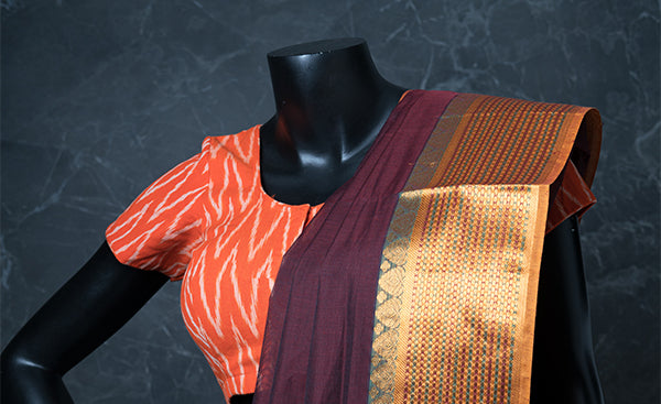 Orange Cotton Readymade Blouse with Ikhat Prints