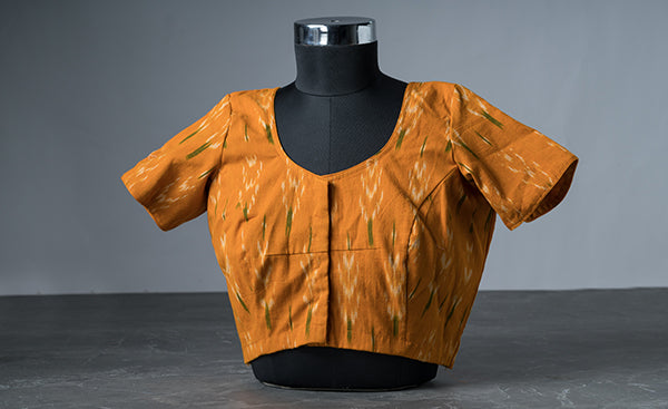 Mustard Cotton Blouse with Ikhat Prints