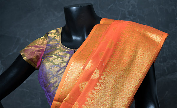 Pure Silk Heather Readymade Blouse with Zari Jacquard Patterns