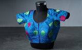 Cornflower Blue Blouse with Multicolored Threadwork