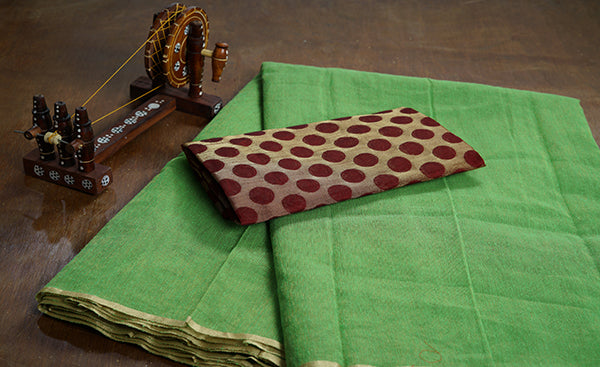 Green Jute Cotton Saree