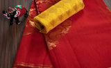 Red semi kora silk saree