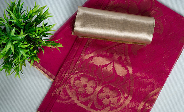 Pink Semi Kora Silk Saree