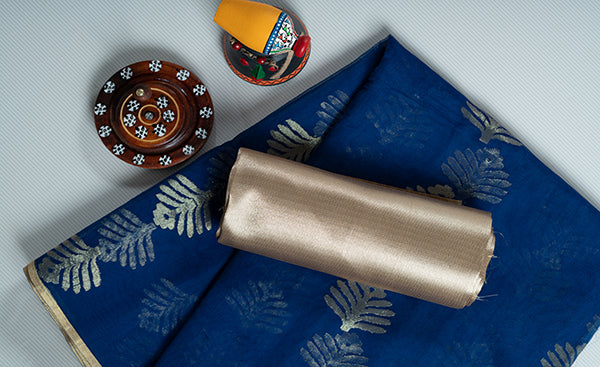 Blue Semi Kora Silk saree