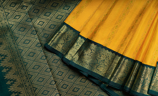 Traditional Yellow Kanchipuram Silk Saree