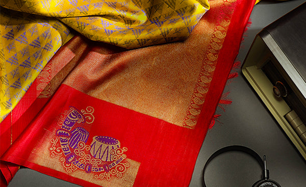Musical Instruments On Mustard & Yellow Pure Silk Saree