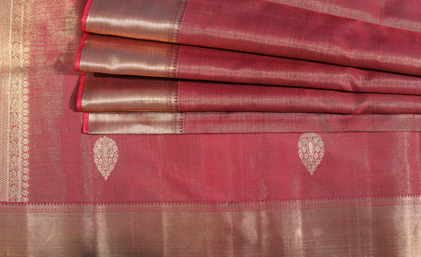 Maroon Kanchipuram Handloom Silk Tissue Saree With 1G Zari