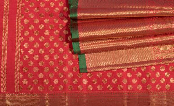 Red Bridal Kanchipuram Handloom Silk Saree With Pure Zari