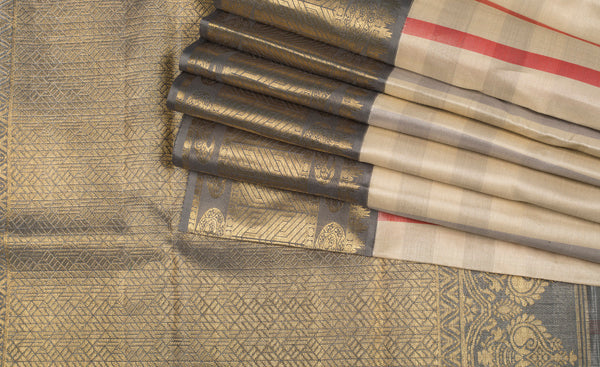 Off-White Pure Kanchipuram Handloom Silk Saree With 1G Zari