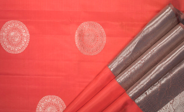 Pink Pure Kanchipuram Handloom Silk Saree With Pure Zari