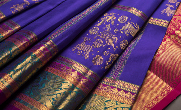 Purple & Magenta Pure Kanchipuram Handloom Silk Saree With Pure Zari
