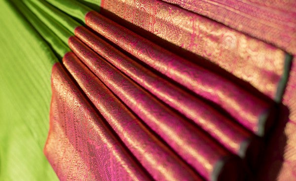 Parrot Green & Pink Pure Kanchipuram Handloom Silk Saree With Pure Zari