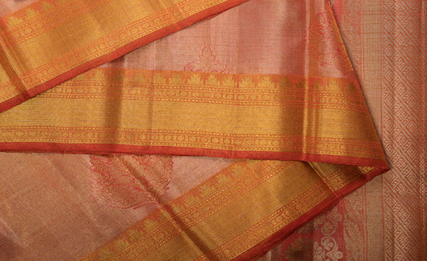 Peach & Gold Pure Kanchipuram Handloom Silk Saree With 1G Zari