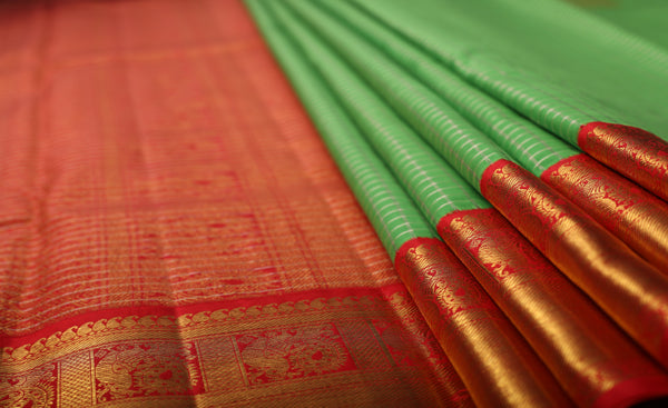 Parrot Green & Tomato Pink Pure Kanchipuram Handloom Silk Saree With 1G Zari
