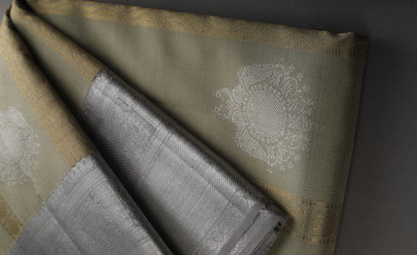 Taupe-Green Red Pure Kanchipuram Handloom Silk Saree With Pure Zari