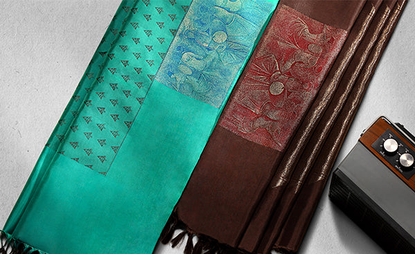 Turquoise Green & Black Pure Silk Saree With Folklore Motifs