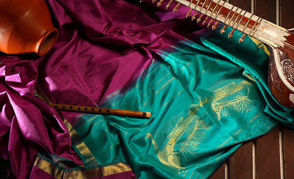 Purple & Aqua Green Pure Silk Saree With Rudra Veena Motif