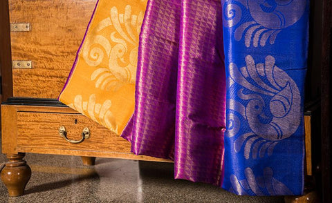 Purple Luxury Silk Saree Woven In Pure Zari