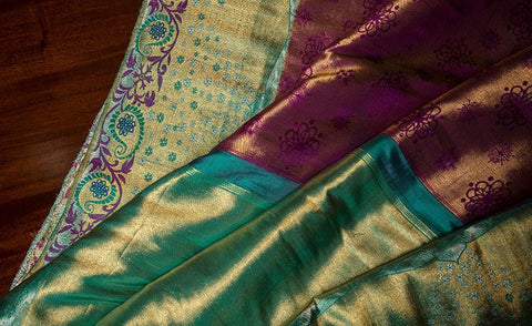 Purple & Green Luxury Silk Saree Woven In Pure Zari