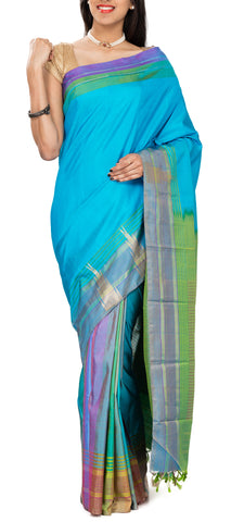 Multicoloured Half & Half Pure Kanchipuram Handloom Silk Saree