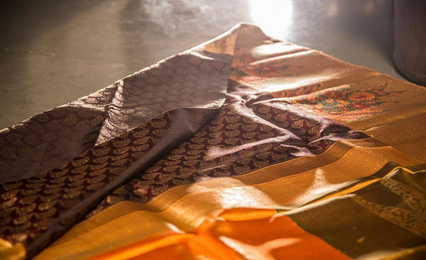 Snuff Brown & Mango Yellow Luxury Silk Saree Woven With Pure Zari