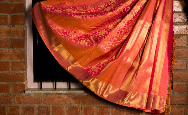 Pink Luxury Silk Saree Woven In Pure Zari