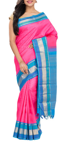 Pink & Blue Pure Kanchipuram Handloom Silk Saree