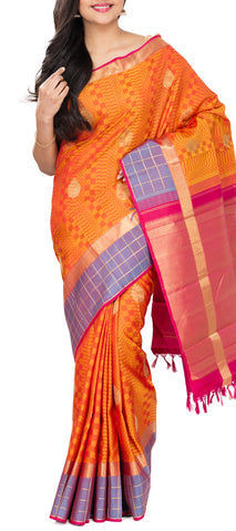 Orange, Dark Pink & Mauve Pure Kanchipuram Handloom SIlk Saree