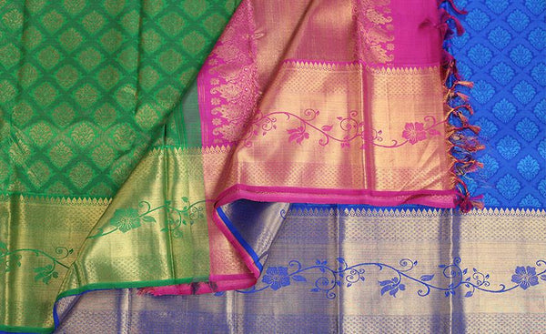 Green, Pink and Blue pure kanchipuram handloom silk†saree with pure zari