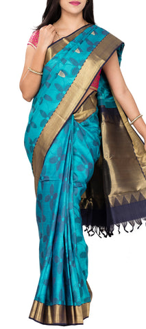 Turquoise Blue & Grey Pure Kanchipuram Handloom Silk Saree