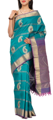 Aquamarine & Purple Pure Kanchipuram SIlk Saree With Pure Zari