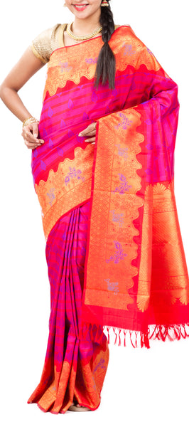 Bright Pink Pure Kanchipuram Handloom Silk Saree With Pure Zari