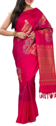 Dark Pink Pure Kanchipuram Handloom Silk Saree