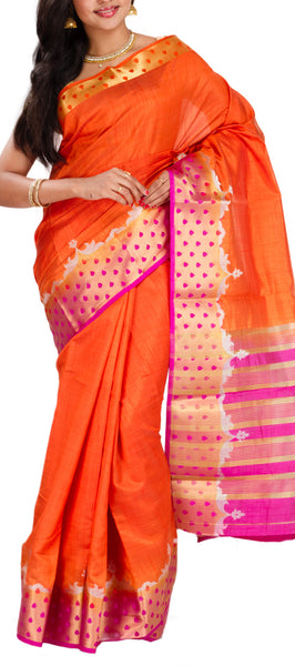 Orange Semi Tussar Silk Saree
