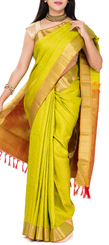 Lemon Green & Orange Pure Kanchipuram Handloom Silk Saree