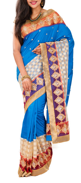 Blue Semi Tussar Saree With Attached Border