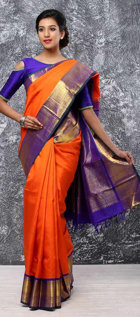 e29d8bce2249e Orange and Purple Pure Kanchipuram Handloom Silk Saree – Palam Silks
