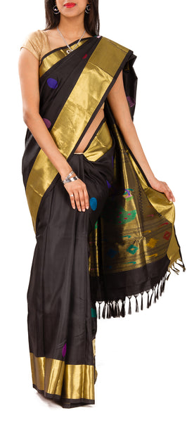Deep Grey Pure Kanchipuram Handloom Silk Saree With Half Fine Zari