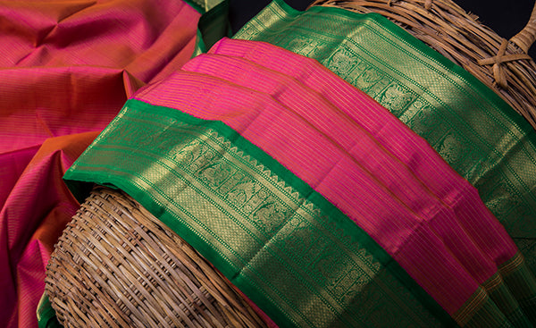 Pink & Green Kanchipuram Handloom Silk Saree
