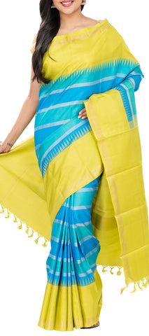 Blue & Lemon Yellow Pure Kanchipuram Handloom Silk Saree