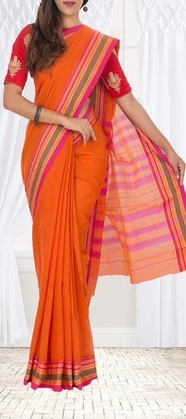 Orange Semi Cotton Saree