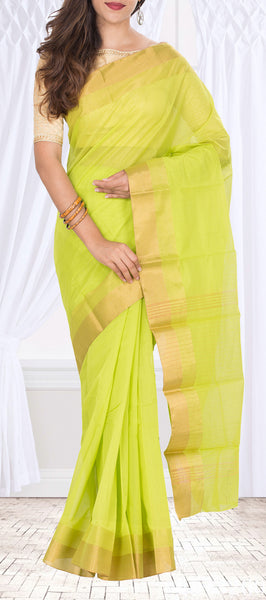Lime Green & Zari Semi Silk Cotton Saree